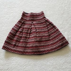 Red Zig Zag Zag Stripe Elastic Skirt
